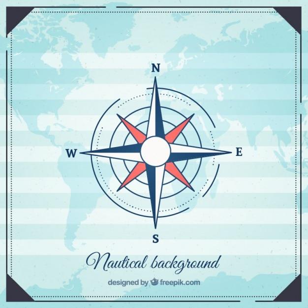 Fondo náutico con puntos cardinales vector gratuito