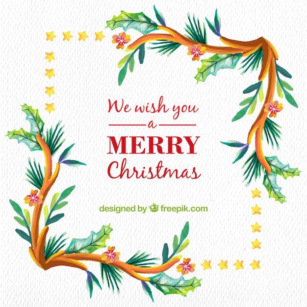 Fondo De Navidad En Acuarela Con Motivos Florales Descargar - Motivos-navidad