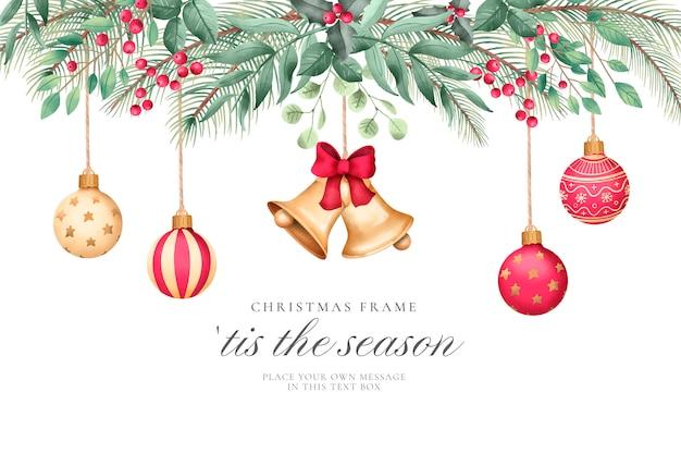 Fondo de navidad con adornos de acuarela vector gratuito
