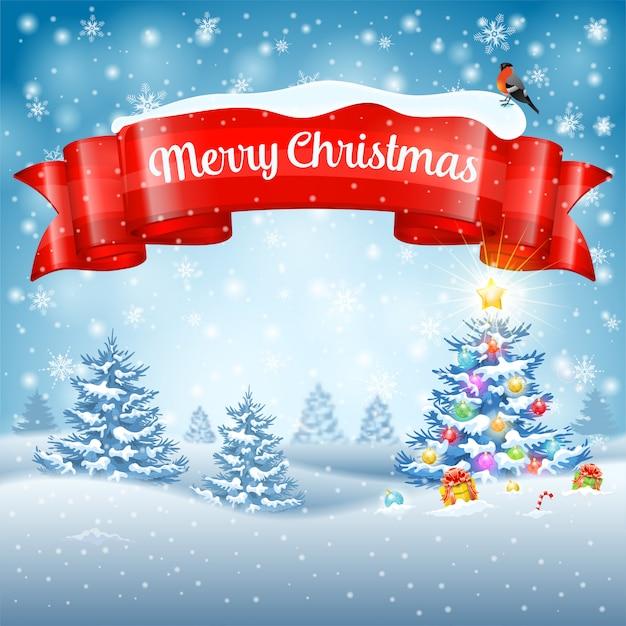 Fondo de navidad con árbol, regalos, cinta, copos de nieve y camachuelo sobre fondo nevado. Vector Premium