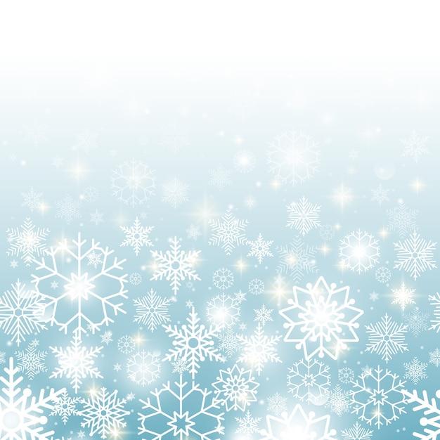 Fondo de navidad azul con copos de nieve de patrones sin fisuras horizontales vector gratuito