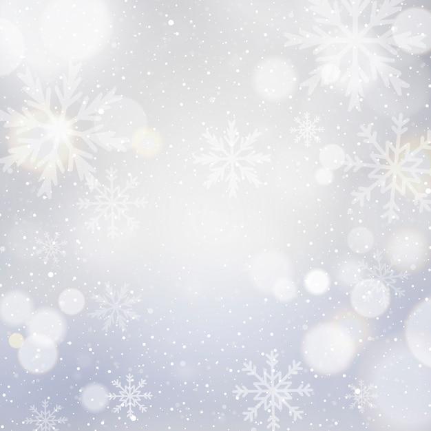Fondo de navidad blanca con bokeh y copos de nieve vector gratuito