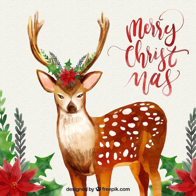 Fondo De Navidad Con Ciervo De Acuarela Descargar Vectores Gratis - Ciervo-navidad