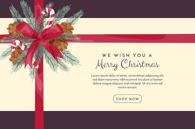 Fondo de navidad con cinta vector gratuito