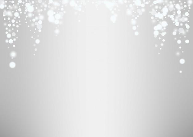 Fondo de navidad de copos de nieve blanca brillante Vector Premium