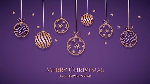 Fondo de navidad con decoración dorada en papel vector gratuito