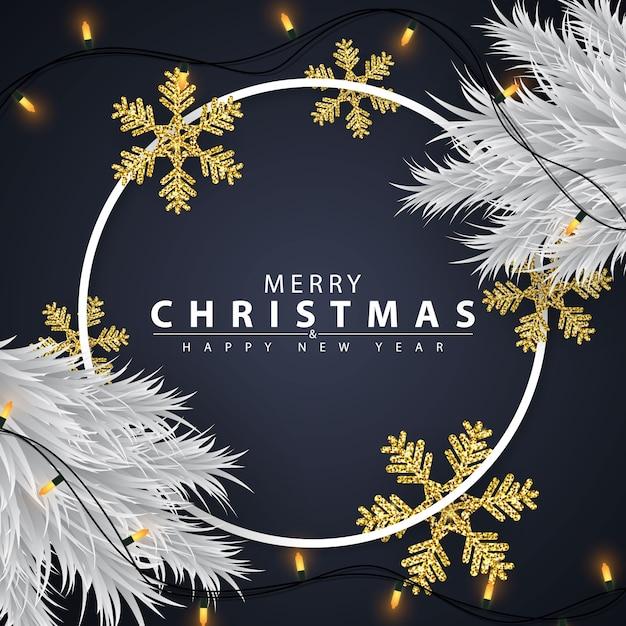 Fondo de navidad decorado con copos de nieve dorados Vector Premium