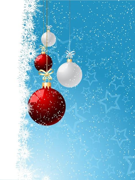 Fondo de navidad decorativo con adornos colgantes vector gratuito