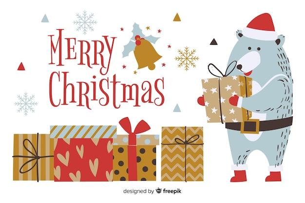 Fondo de navidad dibujado a mano con lindo oso vector gratuito