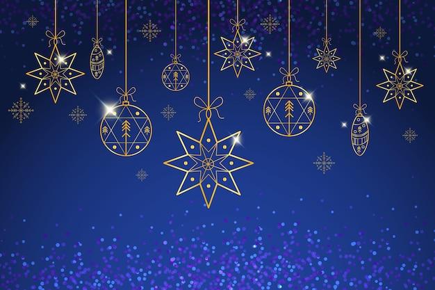 Fondo de navidad en estilo de contorno vector gratuito