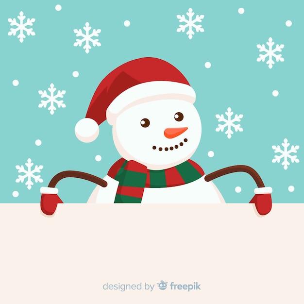 Fondo navidad muñeco de nieve asomándose vector gratuito