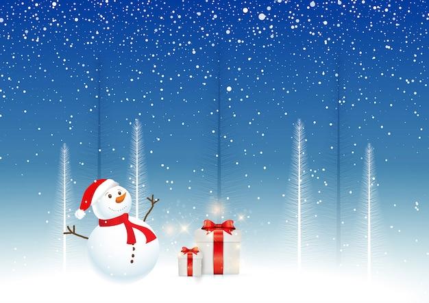 Fondo de navidad con muñeco de nieve y regalos vector gratuito