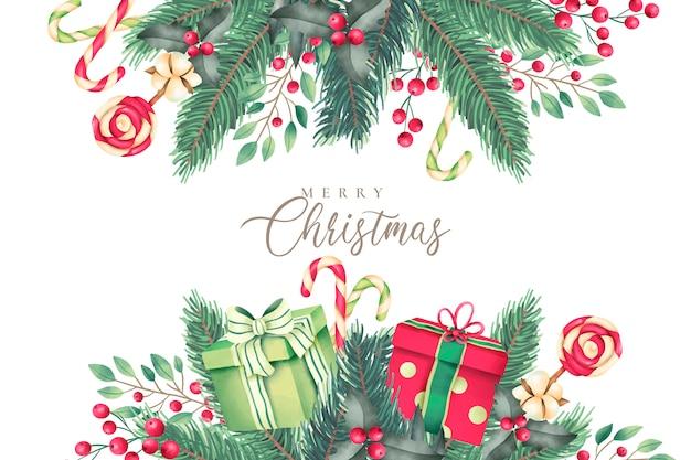Fondo de navidad con naturaleza acuarela y regalos vector gratuito