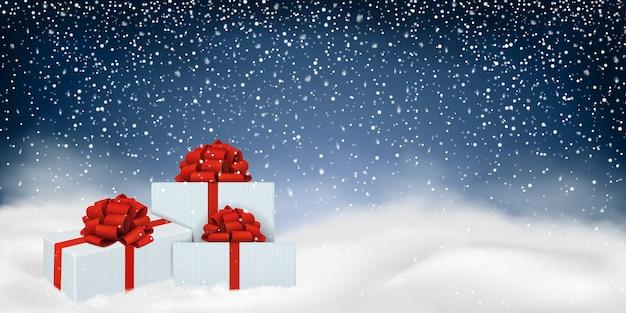 Fondo de navidad con paisaje de invierno. Vector Premium