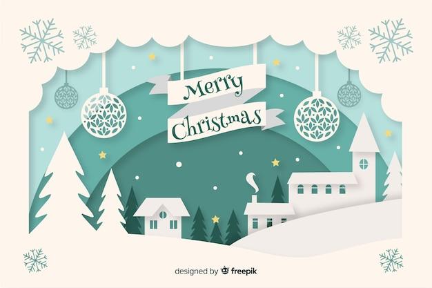 Fondo de navidad en papel Vector Premium