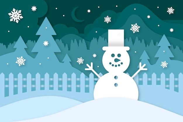 Fondo de navidad en papel vector gratuito