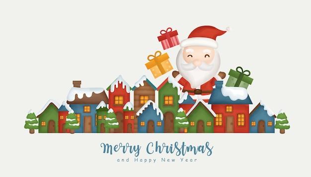 Fondo de navidad con pueblo de nieve y santa claus. Vector Premium