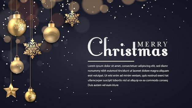 Fondo de navidad con puntos brillantes luz doradas estrellas burbujas y copos de nieve Vector Premium