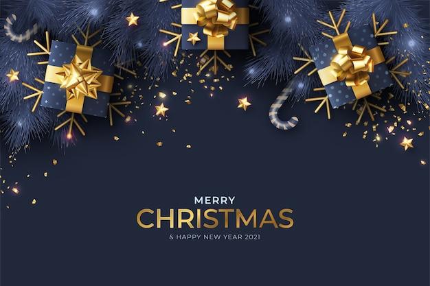Fondo de navidad realista azul y dorado vector gratuito