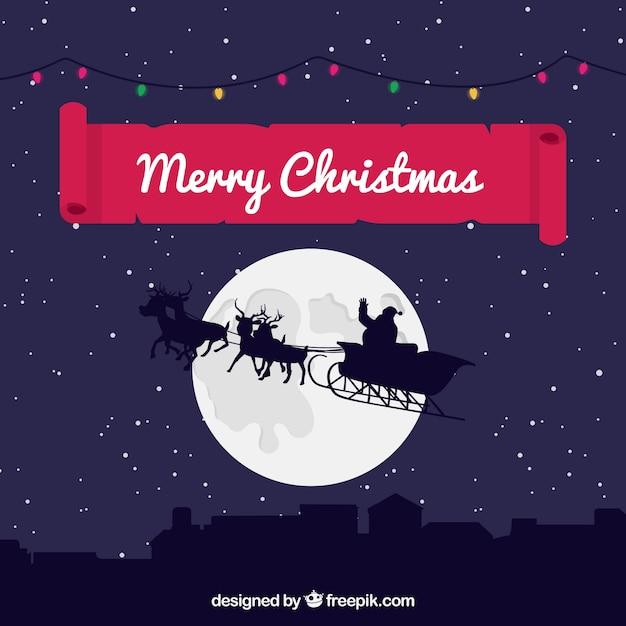 Fondo de navidad con santa claus volando vector gratuito