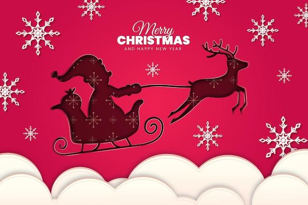 Fondo de navidad con santa y renos en estilo papel Vector Premium