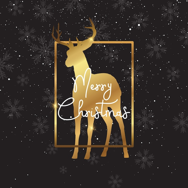 Fondo de navidad con silueta de ciervo de oro vector gratuito