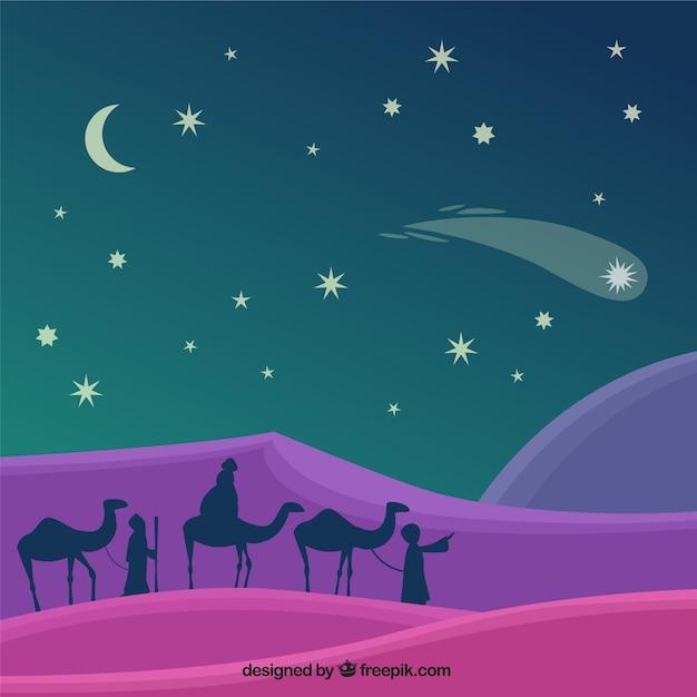 Fondo De Navidad Con Siluetas De Los Reyes Magos Descargar