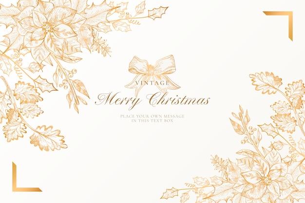 Fondo de navidad vintage con naturaleza dorada vector gratuito