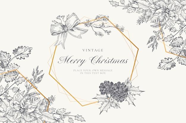 Fondo de navidad vintage con naturaleza de invierno vector gratuito