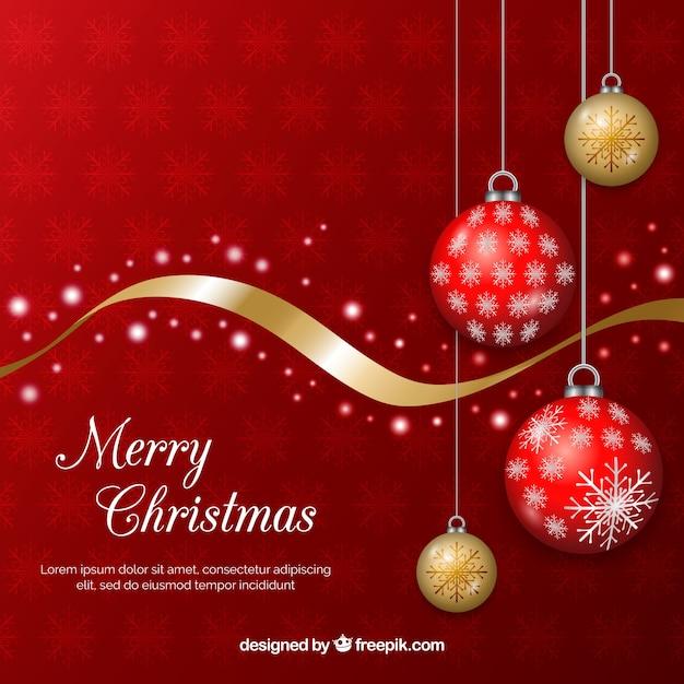 Fondo navideño con bolas rojas y doradas de árbol de navidad vector gratuito
