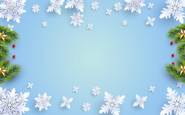 Fondo navideño con composición y decoración Vector Premium