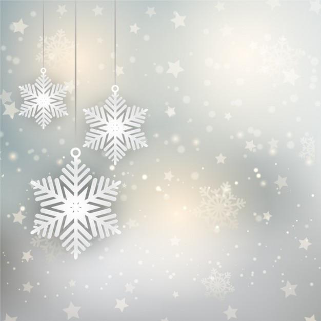 Fondo navide o con copos de nieve y estrellas descargar for Estrella de nieve