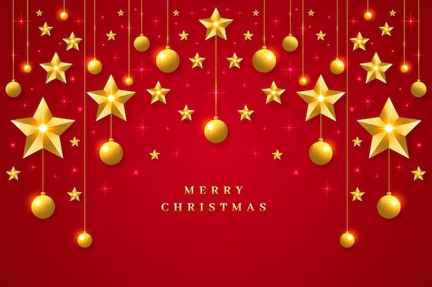 Fondo navideño con decoración realista vector gratuito