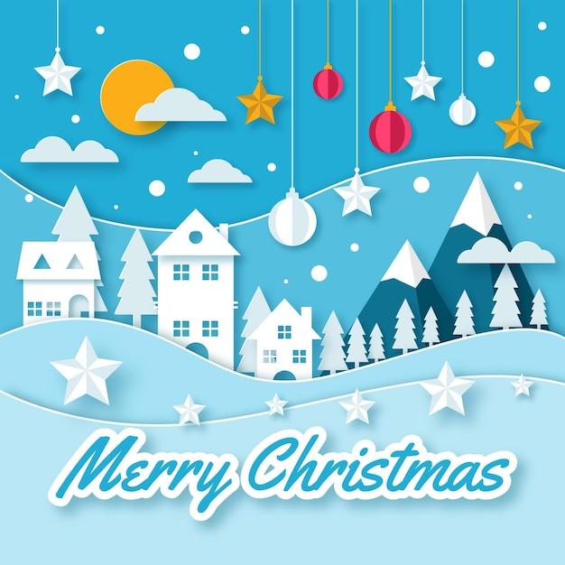 Fondo navideño en estilo papel con casas y estrellas. vector gratuito
