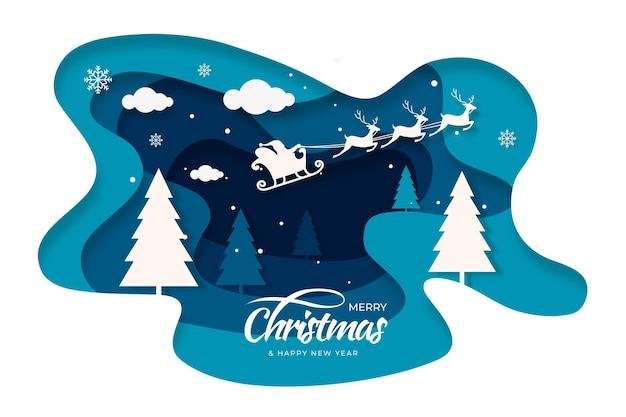 Fondo navideño en estilo papel vector gratuito