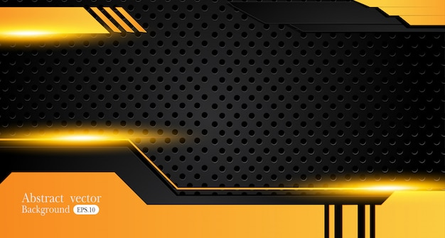 Fondo de negocio abstracto amarillo y negro naranja Vector Premium