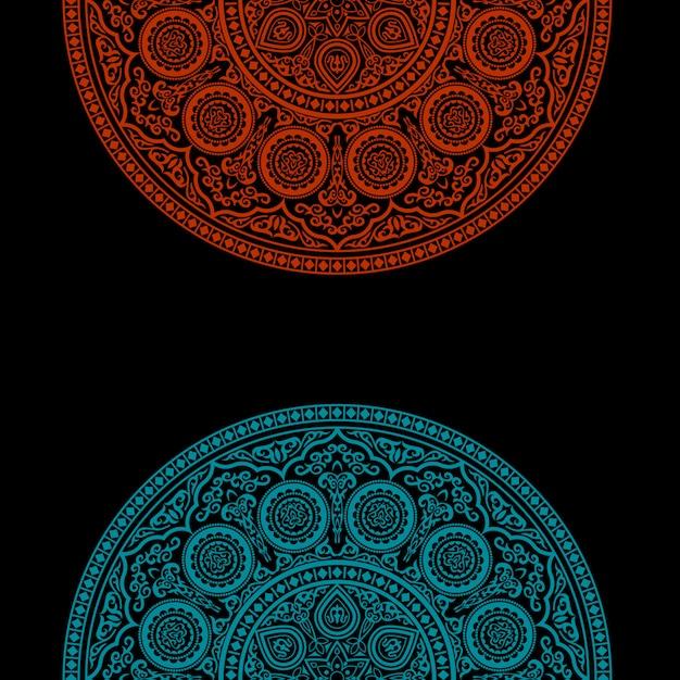 Fondo negro con adorno redondo - estilo árabe, islámico y oriental Vector Premium