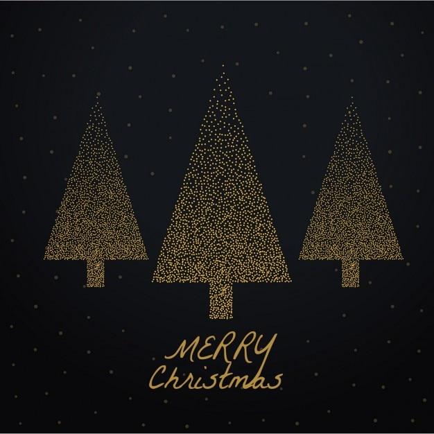 Fondo negro con tres rboles de navidad dorados - Arboles de navidad dorados ...