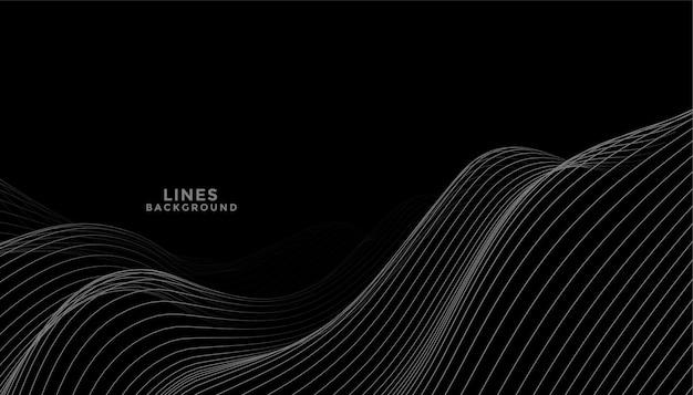 Fondo negro con diseño de líneas onduladas gris oscuro vector gratuito