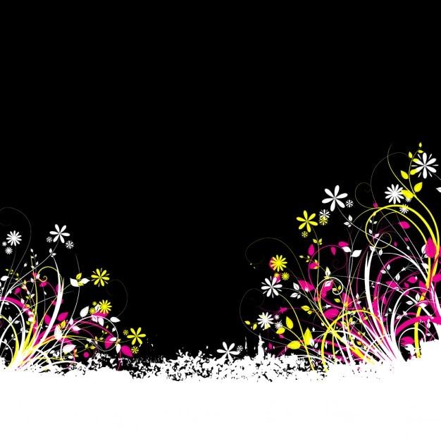 Fondo Negro Con Flores De Colores Descargar Vectores Gratis