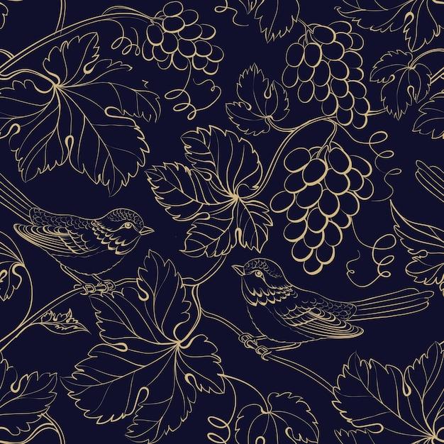 Fondo negro con hojas y bayas de uva de oro. vector gratuito
