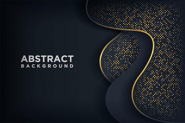Fondo negro de lujo con una combinación de puntos dorados brillantes. Vector Premium