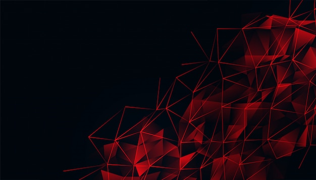 Fondo negro con malla roja de poli baja brillante vector gratuito