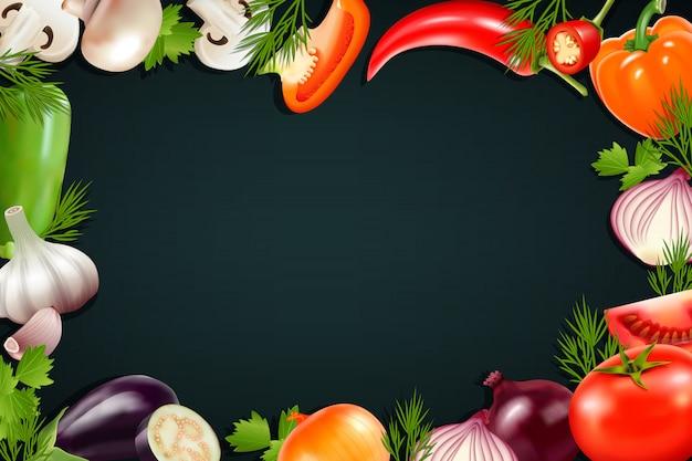 Fondo negro con marco de colores que contiene iconos realistas de verduras para pimiento berenjena tom vector gratuito