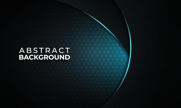 Fondo negro moderno con curva de luz azul Vector Premium
