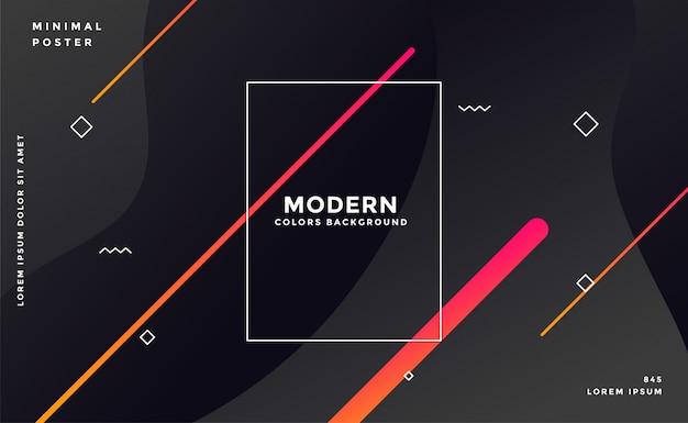 Fondo negro moderno estilo memphis oscuro vector gratuito