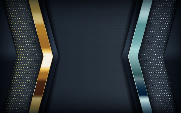 Fondo negro moderno con oro y plata. Vector Premium