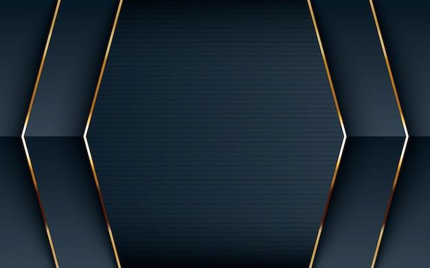 Fondo negro texturado con linea dorada. Vector Premium