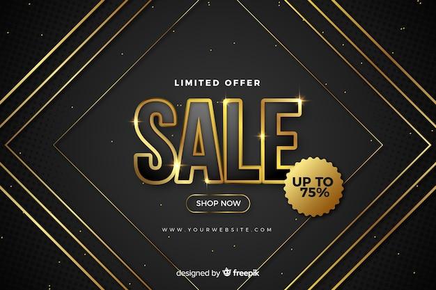 Fondo negro de ventas con detalles dorados vector gratuito
