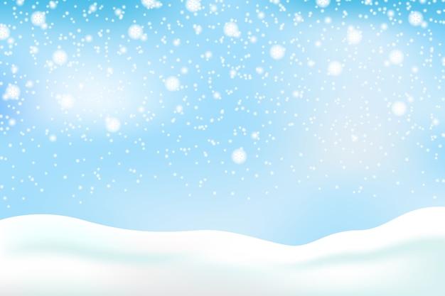 Fondo de nieve con cielo vector gratuito
